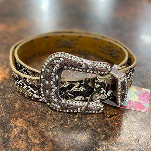 Snakeskin Studded Belt Crystal